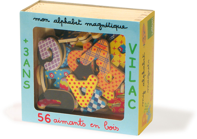 MAGNETS ALPHABET MAJUSCULE 56 PCS EN COFFRET BOIS