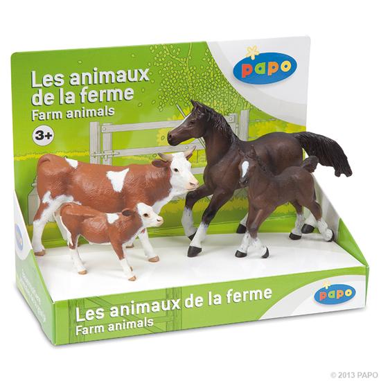 BOITE PRESENTOIR ANIMAUX DE LA FERME 2 (4 FIG.)